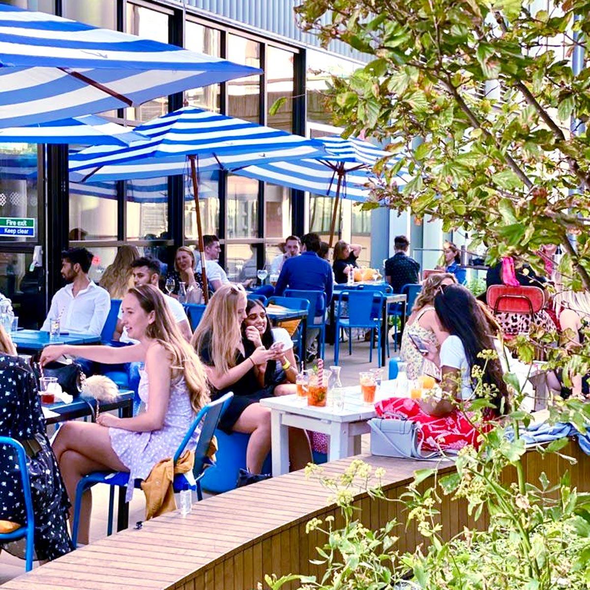West London outdoor terrace cocktail bar HUCKSTER Paddington